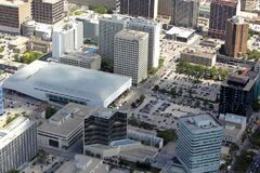 Winnipeg Convention Centre, as seen from the air.