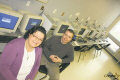 St. Boniface Diocesan High School teachers Vanessa Olson and Jonathan Martin in one of the school's computer labs.