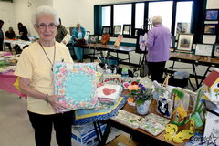 Coreen Campbell, a member of Archwood 55 Plus, was selling her artwork at the group's craft and bake sale on Sept. 30.