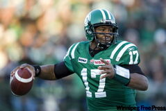 Quarterback Michael Bishop throws a pass while playing for the Saskatchewan Roughriders in November 2008.
