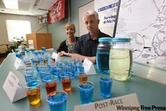 Dr. Dean Kriellaars and dietitian Jorie Janzen: proper hydration boosts performance.