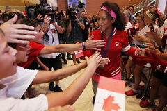 Soccer Olympian and bronze medalist Desiree Scott is welcomed home at Winnipeg Richardson International Airport Monday.