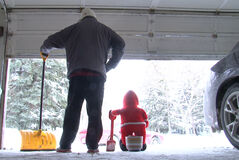 Doug and Creepy Santa get ready to take on the snow.