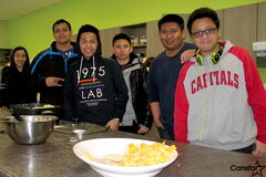 From left to right: Maye Nonato, Harwinder Jassal, Romar Mirando, Justine Laurito, Francis Cruz and John Allen Angeles are some of the Wayfinders students enjoying their new location at 950 Jefferson Ave., which boasts an open-concept kitchen for preparing some study-time snacks.