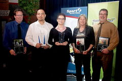 Coaching Manitoba Excellence Award winners (from left) Andy Tough, William Hudson, Kali Leary, Brigitte Smutny and Don Thomson.