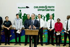 Children and Youth Opportunities Minister Kevin Chief introduces the Sport Opportunities Fund at Broadway Neighbourhood Centre.