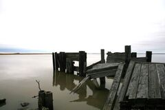 The ruins of a pier on Hecla Island.