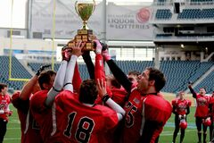 The St. Vital Mustangs became the 2013 Midget Football League of Manitoba champions with a commanding 39-12 win over defending champs the North Winnipeg Nomads.