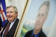 Former Alberta premier Ralph Klein attends the unveiling of his official portrait at the Alberta Legislature Rotunda in Edmonton on Aug. 30, 2007. Klein died Friday at the age of 70.