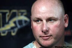Winnipeg Blue Bombers head coach Paul LaPolice talks to the media in response to the fines meted out by the CFL to himself and three players -- DE Phillip Hunt, C Obby Khan, DB Jovon Johnson -- for their public displeasure with the zebras.