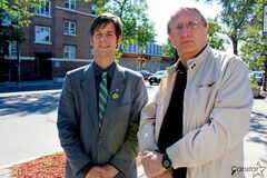 Green Party leader James Beddome (left) and Minto candidate Harold Dyck believe the party has a chance to make major gains in the West End this election.
