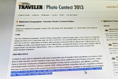 The rules of the National Geographic Traveler photo contest are seen on the magazine's web site Thursday, October 10, 2013 in Montreal. The province of Quebec is one of the places excluded, including Cuba, Iran, North Korea, Sudan and Syria, because of its complex laws regarding contests. THE CANADIAN PRESS/Paul Chiasson