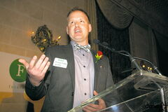Michael Embury at the recent ceremony where he picked up his Future Leaders of Manitoba Council award.