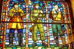 The 1958 Leo Mol stained glass window was backlit as part of the refurbishing effort.