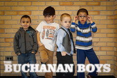 The Buchanan Boys CD cover art, featuring (from left) Hassan the Hilarious, Magic Matthew, Bradley Dynamite, and Dreden Marvellous.