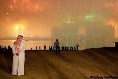 Locals watch the fireworks explode over the Atlantis resort in Dubai. Dubai got a $10 billion lifeline in December from oil-rich Abu Dhabi to save one of its prized companies from imminent default, calming fears for now about the city-state's shaky finances.