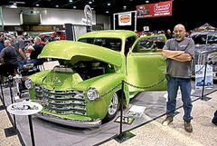 Dale Loewen of Sandale Fabrication with his new shop truck, a spectacular 1950 Chevrolet.