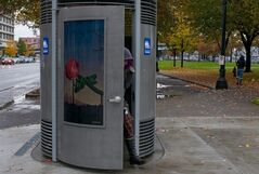 This Nov. 9, 2010 photo shows a Portland Loo in downtown Portland, Ore. The Oregonian reports the city has now agreed to allow the toilet's manufacturer to set the price and market the toilets, giving the city a royalty. (AP Photo/The Oregonian, Beth Nakamura) MAGS OUT; TV OUT; LOCAL TELEVISION OUT; LOCAL INTERNET OUT; THE MERCURY OUT; WILLAMETTE WEEK OUT; PAMPLIN MEDIA GROUP OUT