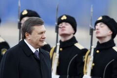 Ukrainian President Viktor Yanukovych reviews the  honour guard near Moscow during a visit to Russia in 2010.