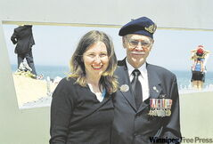 Playwright Julia MacKey, with Max Heximer, a Canadian Second World War veteran, on Juno Beach, June 6 2004.