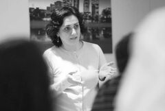 Golrokh Sanehian participates in an English for Special Purposes class at the University of Winnipeg.