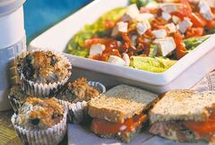 Blueberry and whole-wheat muffins, Cobb salad and Pesto and tomato sandwich.