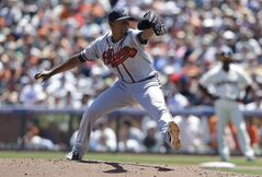 Atlanta Braves pitcher Julio Teheran throws against the San Francisco Giants during the second inning of a baseball game in San Francisco, Wednesday, May 14, 2014. (AP Photo)