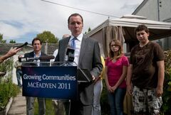 Conservative Leader Hugh McFayden at the home of Hartley Macklin, a homeowner in Winnipeg. McFayden announced his proposal for a home-renovation tax credit.