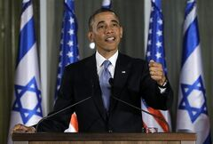 President Barack Obama gestures as he speaks during a joint news conference with Israeli Prime Minister Benjamin Netanyahu, Wednesday, March 20, 2013, at the prime minister's residence in Jerusalem. (AP Photo/Carolyn Kaster)