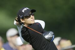 Azahara Munoz, of Spain, drives on the 16th hole during the second round of the Meijer LPGA Classic golf tournament at Blythefield Country Club, Friday, Aug. 8, 2014, in Belmont, Mich. (AP Photo/Carlos Osorio)