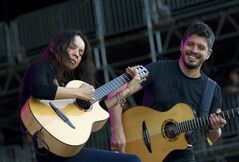 FILE - This June 8, 2012 file photo shows Gabriela Quintero, left, and Rodrigo Sanchez of Rodrigo Y Gabriela performing during the Bonnaroo Music and Arts Festival in Manchester, Tenn. The group released a new album titled,