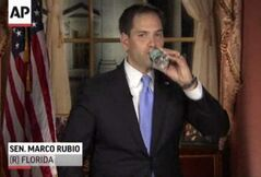 In this frame grab from video, Florida Sen. Marco Rubio takes a sip of water during his Republican response to President Barack Obama's State of the Union address, Tuesday, Feb. 12, in Washington.