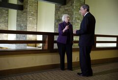 Federal Reserve Chair Janet Yellen, left, and European Central Bank President Mario Draghi speak during the Jackson Hole Economic Policy Symposium at the Jackson Lake Lodge in Grand Teton National Park near Jackson, Wyo. Friday, Aug. 22, 2014. (AP Photo/John Locher)