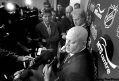 NHL deputy commisioner Bill Daly scrums with local media Thursday afternoon. Daly says the MTS Centre needs new glass.