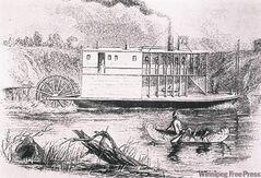 A drawing of the 'Anson Northup,' the first steamboat to reach Winnipeg.