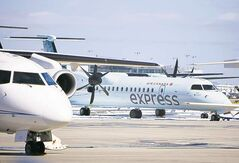 An Air Canada Express Q400 at Montreal's Pierre Elliott Trudeau Airport.