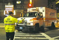 An ambulance takes Dzhokhar Tsarnaev, a 19-year-old Massachusetts college student wanted in the Boston Marathon bombings, to hospital Friday night.