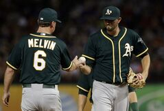 Oakland Athletics manager Bob Melvin (6) takes the ball from starting pitcher Jason Hammel in the sixth inning of a baseball game against the Texas Rangers, Friday, July 25, 2014, in Arlington, Texas. (AP Photo)