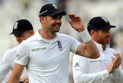 England's James Anderson walks back to the pavilion at the end of play on day four of the first Test between England and India at Trent Bridge cricket ground, Nottingham, England, Saturday, July 12, 2014. (AP Photo/Rui Vieira)
