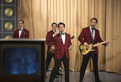 This photo released by Warner Bros. Pictures shows, from left, Erich Bergen as Bob Gaudio, Vincent Piazza as Tommy DeVito, John Lloyd Young as Frankie Valli and Michael Lomenda as Nick Massi in Warner Bros. Pictures' musical