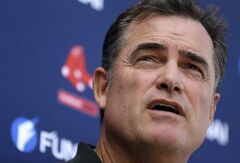 Boston Red Sox manager John Farrell speaks with reporters at spring training baseball Saturday, Feb. 15, 2014, in Fort Myers, Fla. (AP Photo/Steven Senne)