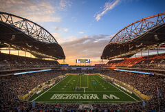 Melissa Tait / Winnipeg Free Press archives The cost of Investors Group Field on the University of Manitoba's Fort Garry campus has steadily risen, and the stakeholders are hashing out who's going to pay.
