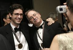 FILE - In this Wednesday, Nov. 14, 2007, file photo Authors Joshua Ferris, left, and Jim Shepard get their picture taken during a reception for the 58th National Book Awards in New York. The Americans have arrived in force for Britain's Booker literary prize. Five U.S.-based writers are on the 13-book long-list for the prestigious fiction award. The list, announced Wednesday, July 23, 2014, includes Americans Joshua Ferris, Karen Joy Fowler, Siri Hustvedt and Richard Powers, as well as Irish-American writer Joseph O'Neill. (AP Photo/Seth Wenig, File)
