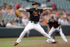 Baltimore Orioles starting pitcher Wei-Yin Chen, of Taiwan, throws to the Houston Astros in the first inning of baseball game, Friday, May 9, 2014, in Baltimore. (AP Photo/Patrick Semansky)