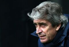 Manchester City's manager Manuel Pellegrini looks on ahead of their English Premier League soccer match against Newcastle United at St James' Park, Newcastle, England, Sunday, Jan. 12, 2014. (AP Photo/Scott Heppell)