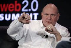 FILE - In this Oct. 18, 2011 file photo, Microsoft CEO Steve Ballmer speaks at the Web. 2.0 Summit in San Francisco. For decades, Ballmer has been Microsoft's biggest cheerleader with his big, booming voice and energetic high-fives, which are famous around Seattle. Now that he's agreed to buy the Los Angeles Clippers for $2 billion, the former CEO of the technology giant is expected to bring that boosterism to the hardwood down south. (AP Photo/Paul Sakuma, File)