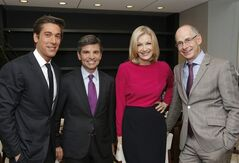 "This image released by ABC News shows, from left, David Muir, George Stephanopoulos, Diane Sawyer and ABC News President James Goldston on Wednesday, June 25, 2014, in New York. Sawyer is stepping down as its evening news anchor, to be replaced by David Muir. The network said Sawyer will concentrate on interviews and specials. During her tenure, ABC's ""World News"" was a steady second to Brian Williams at NBC, although the ABC broadcast has made gains among younger viewers. ABC said George Stephanopoulos will take on a new role as chief anchor for live news events. (AP Photo/ABC, Heidi Gutman)"