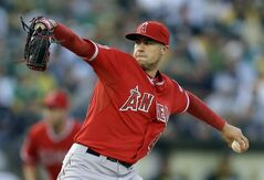 Los Angeles Angels' Tyler Skaggs pitches against the Oakland Athletics in the first inning of a baseball game Saturday, May 31, 2014, in Oakland, Calif. (AP Photo/Ben Margot)