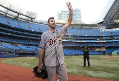 Detroit Tigers pitcher Justin Verlander acknowledges the crowd after throwing a no-hitter against the Toronto Blue Jays during MLB baseball action in Toronto Saturday, May 7, 2011. Verlander won the American League MVP Award in voting announced Monday, Nov. 21, 2011. THE CANADIAN PRESS/Darren Calabrese
