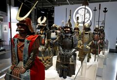 Samurai - The prestigious collection of Richard Beliveau is seen on display in Montreal on Wednesday, May 16, 2012. Lacquered in gold, the armour of the noble samurai Edo glistens in the spotlight. His imposing helmet, adorned with fake water buffalo horns, makes him just as intimidating now as he was several hundred years ago. THE CANADIAN PRESS/Paul Chiasson